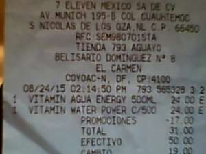 7-Eleven: 2 Vitamin Water por $31 (normal a $24 cada uno)