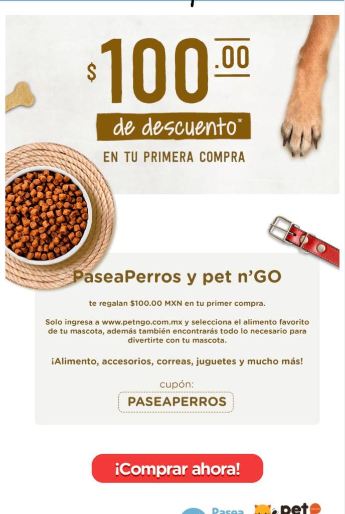 Pet n go: Descuento de $100 en tu  primera compra en alimento para mascota o accesorios