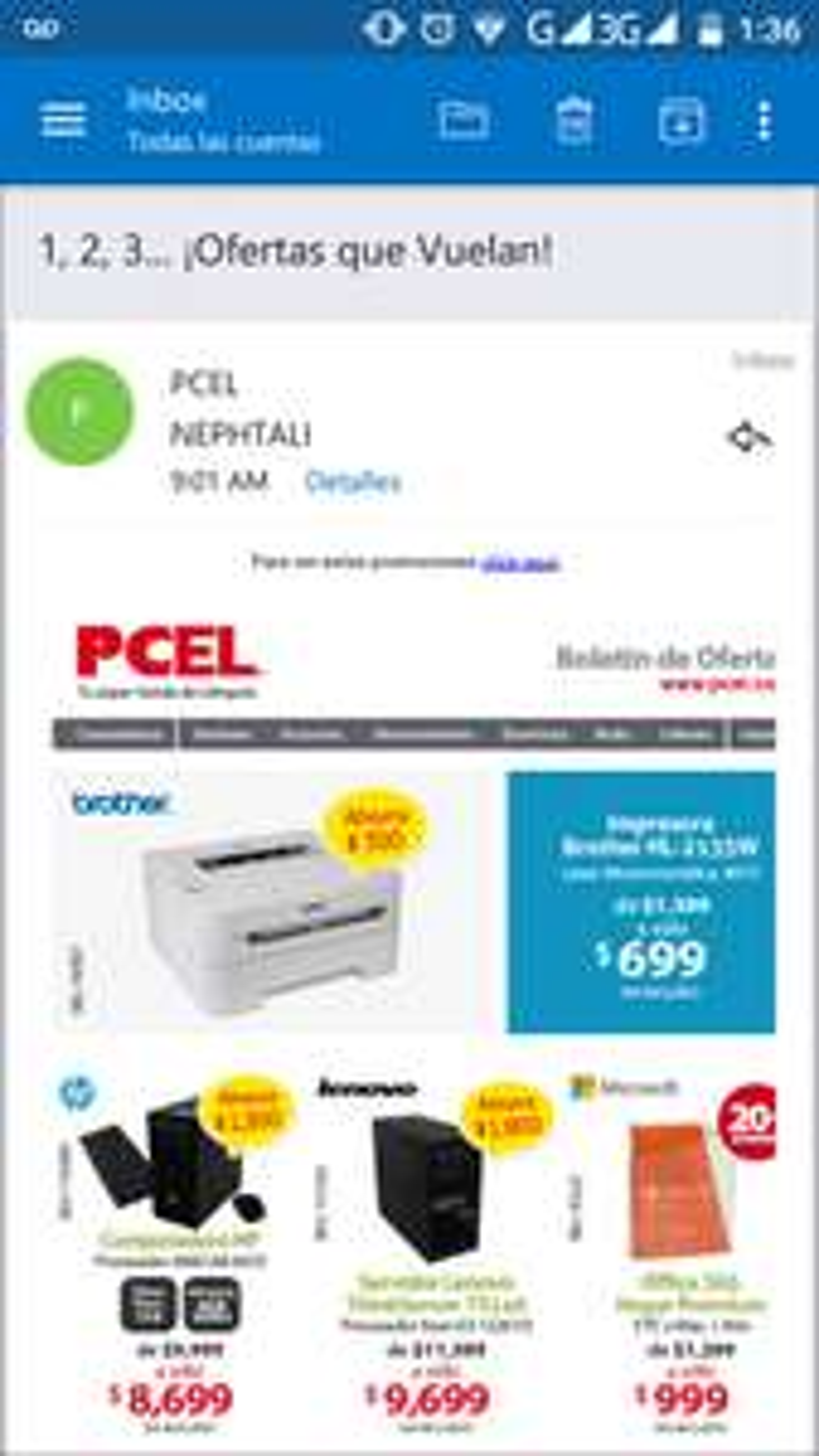 PCEL: Impresora laser blanco y negro wifi brother HL-2135W