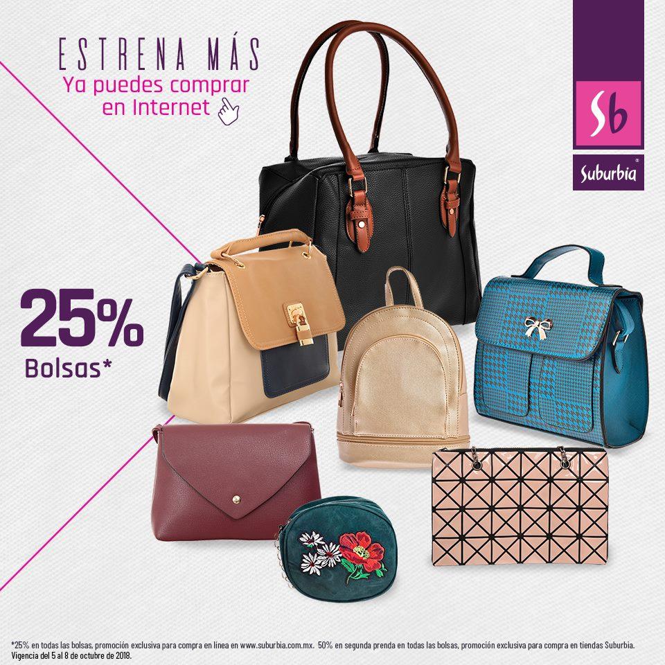 Suburbia: 25% de descuento en todas las bolsas en tienda en línea (50% de desc. en la segunda pieza tienda física)