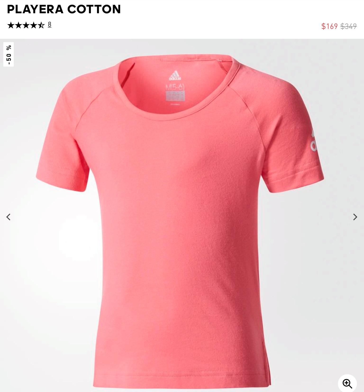 Adidas: Playera cotton rosa y variedad de playeras a $199