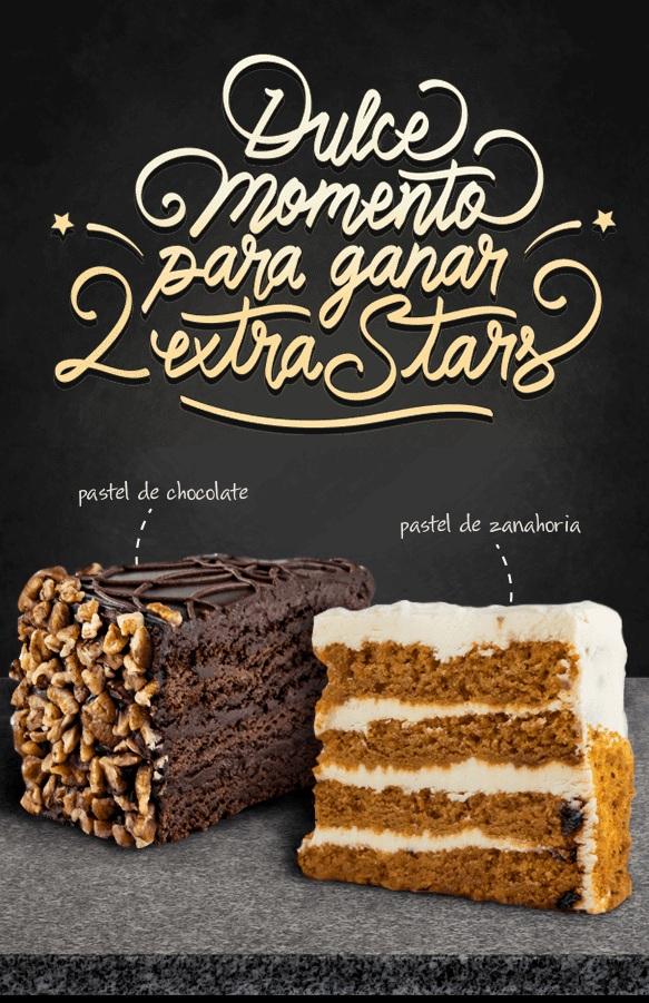 Starbucks: 2 Stars extra en pasteles