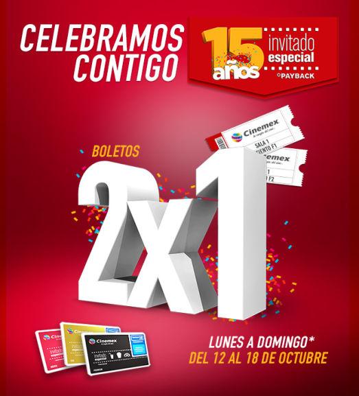 Cinemex: Invitado Especial cumple 15 años (Palomitas Grandes $25 y entradas 2x1)