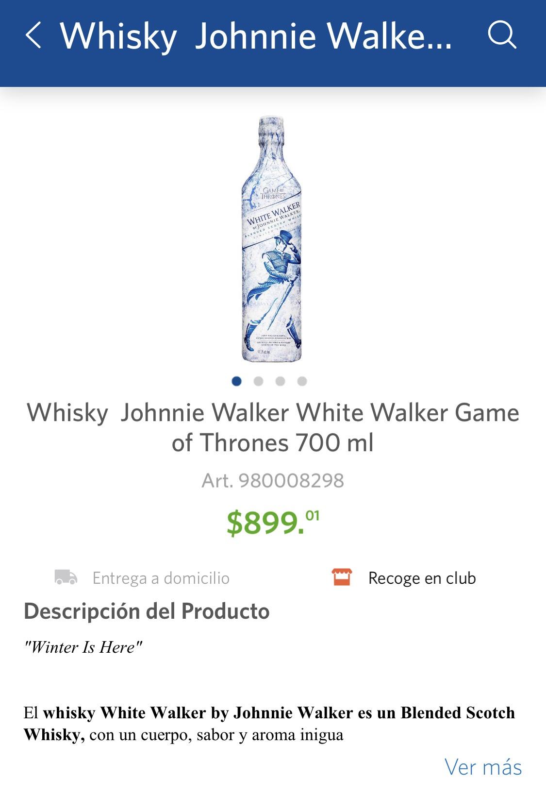 Sam's Club: Whisky Johnnie Walker White Walker Game of Thrones 700 ml