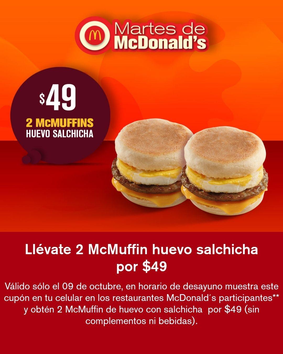 McDonald's: 2 McMuffins de huevo y salchicha por $49