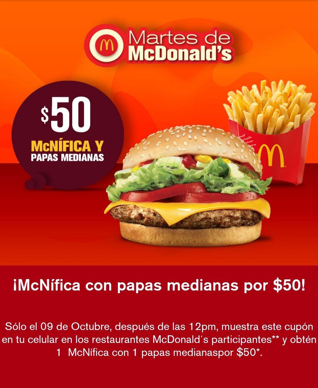 Martes de McDonald's: McNífica y papas por $50 pesos