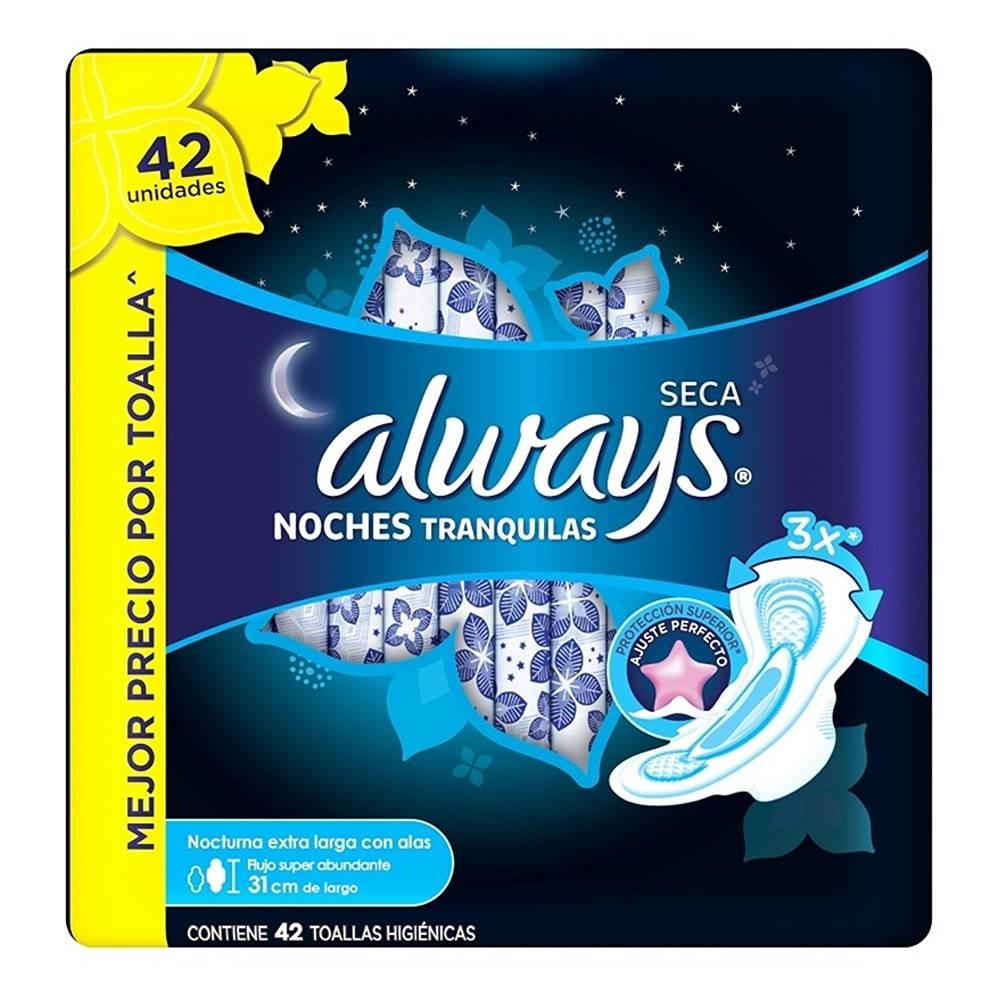 Walmart: Toallas femeninas siempre seca noches tranquilas con alas 42 pzas
