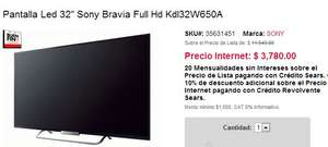 "Ofertas del Buen Fin 2013 Sears: LED Smart TV Sony 32"" $3,780 o 42"" $5,460"