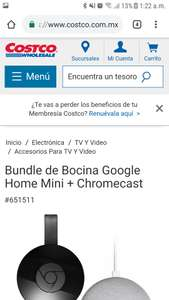 Costco: Bundle de Bocina Google Home Mini + Chromecast