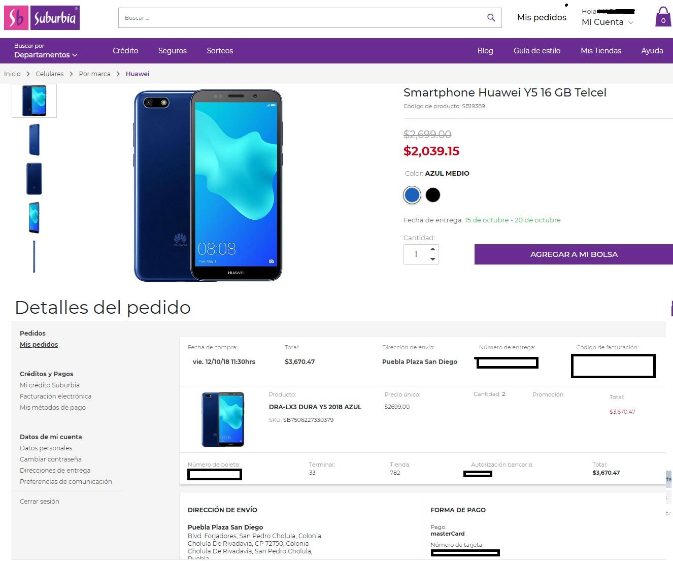 Suburbia: Huawei Y5 16 GB Telcel