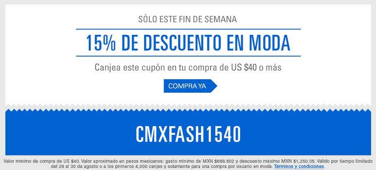 eBay 15% de Descuento en Moda comprando $40 dlls en adelante