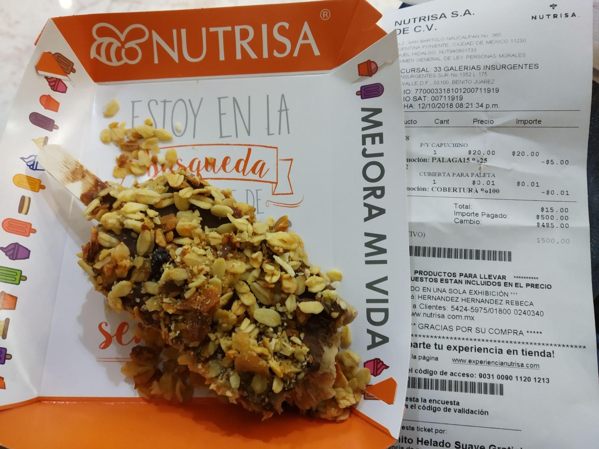 Nutrisa: 25% de descuento en paletas + cubierta de chocolate y cereal gratis