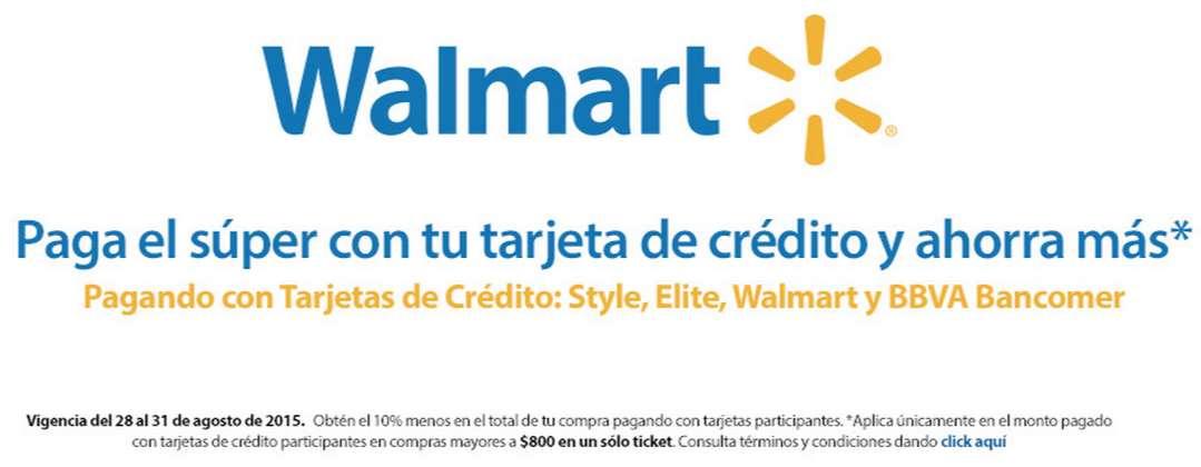 Walmart (súper) online: 10% de descuento en toda la tienda con Bancomer, Banco WM y Sam's