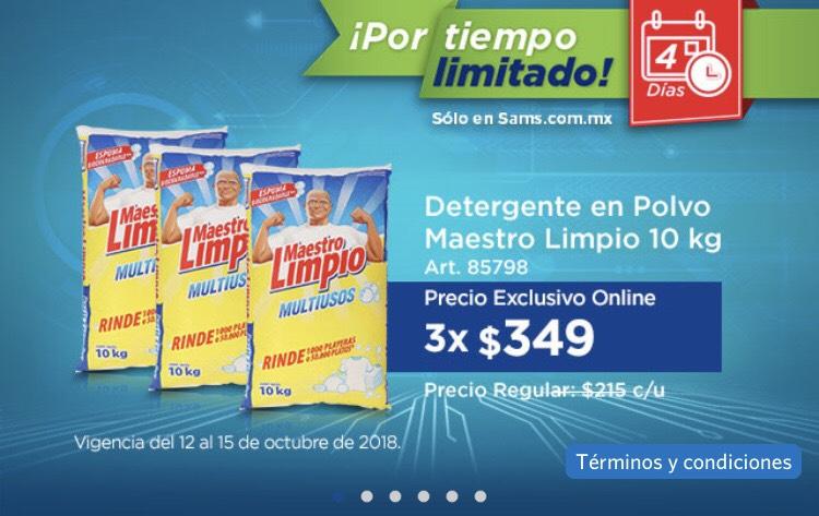 Sam's Club:  Detergente en polvo Maestro Limpio 3 costales de 10kg