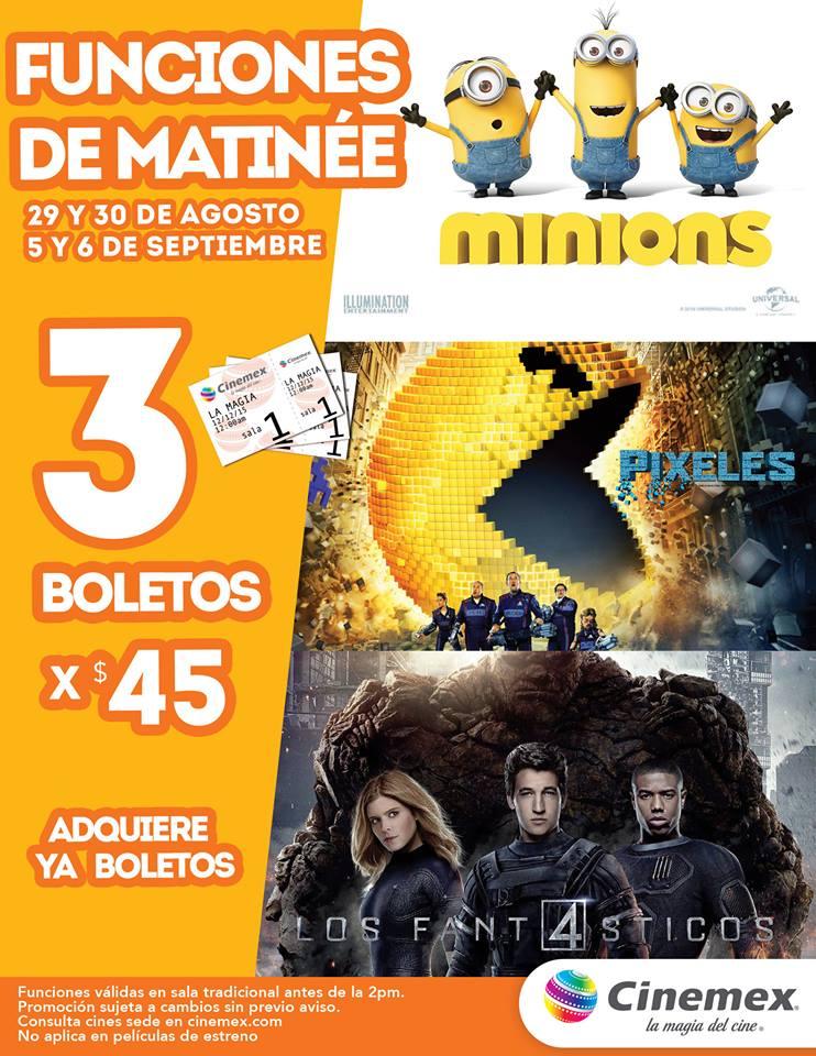 Cinemex: 3 boletos para matinée de Minions, Pixeles o Los 4 Fantásticos por $45