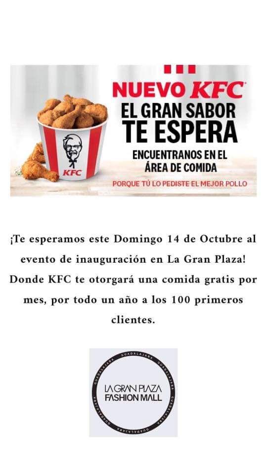 KFC Gran Plaza Guadalajara: Una comida gratis por mes durante un año a los primeros 100 clientes