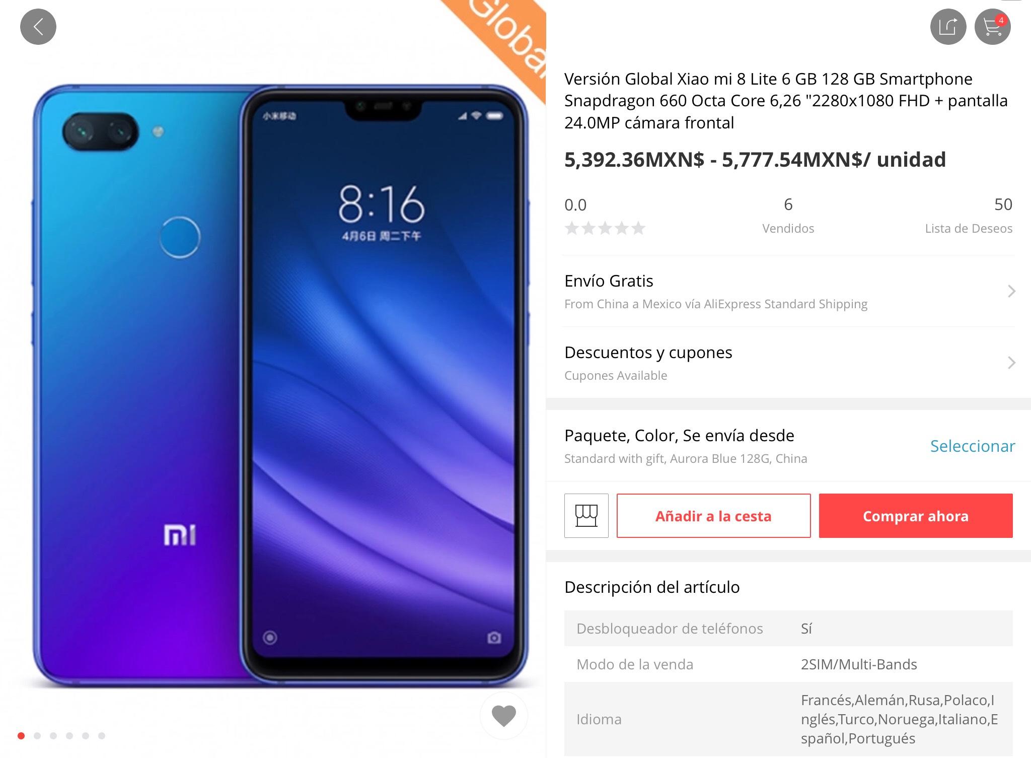 AliExpress: Xiaomi Mi 8 lite versión global de 6gb de RAM y 128gb de almacenamiento