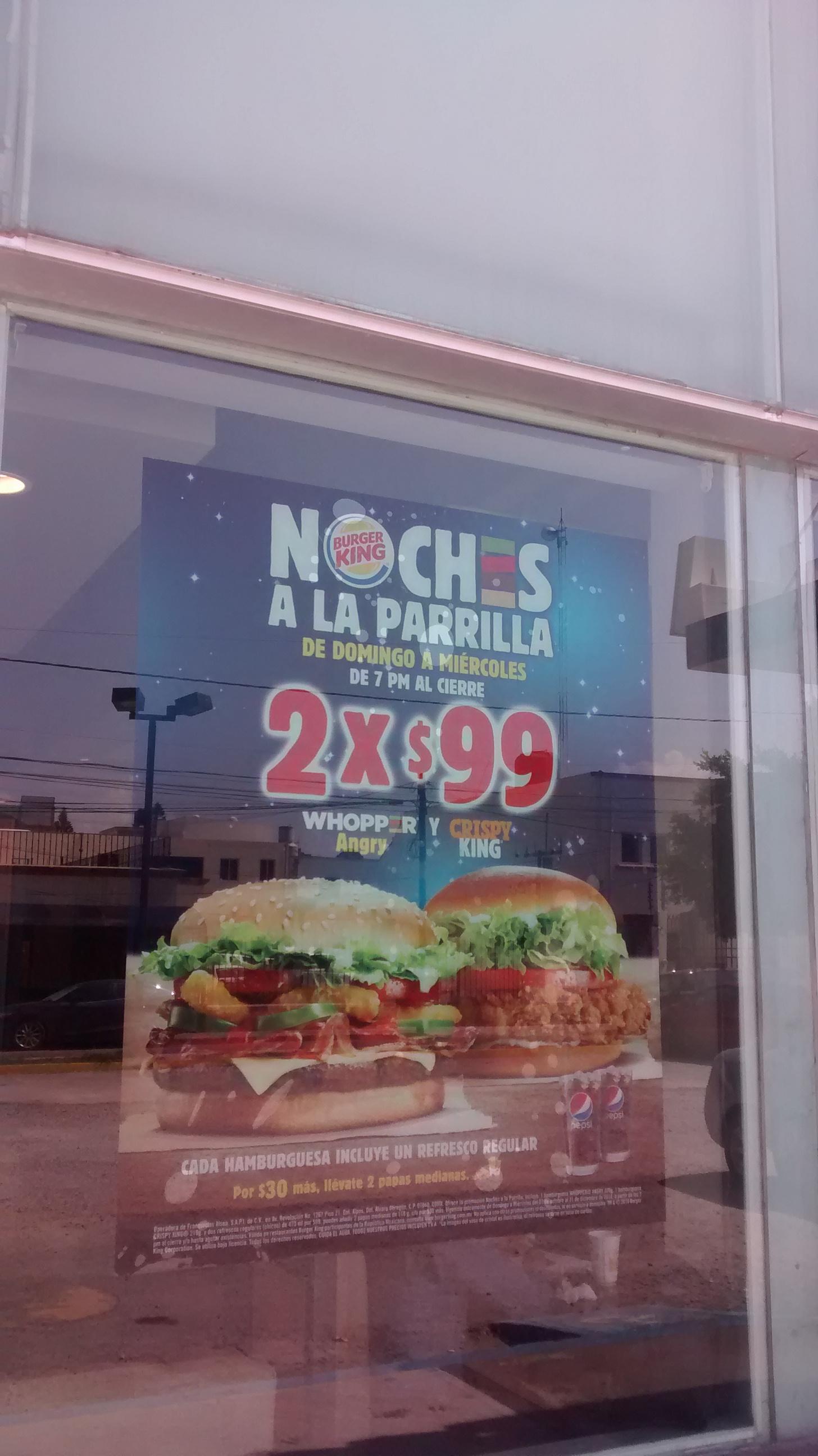 """Burger King: """"Noches a la parrilla"""" 2 hamburguesas + 2 refrescos por $99 Únicamente de Domingo a Miércoles de 7 a 10pm"""