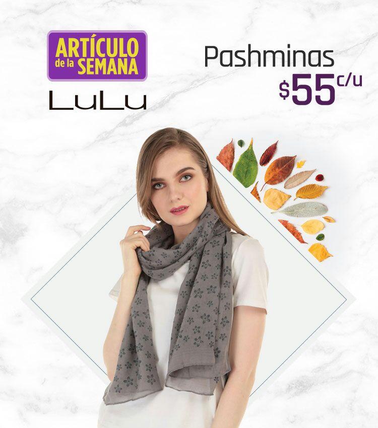 Suburbia: Artículo de la Semana del Lunes 15 al Domingo 21 Octubre Pashminas Lulú $55