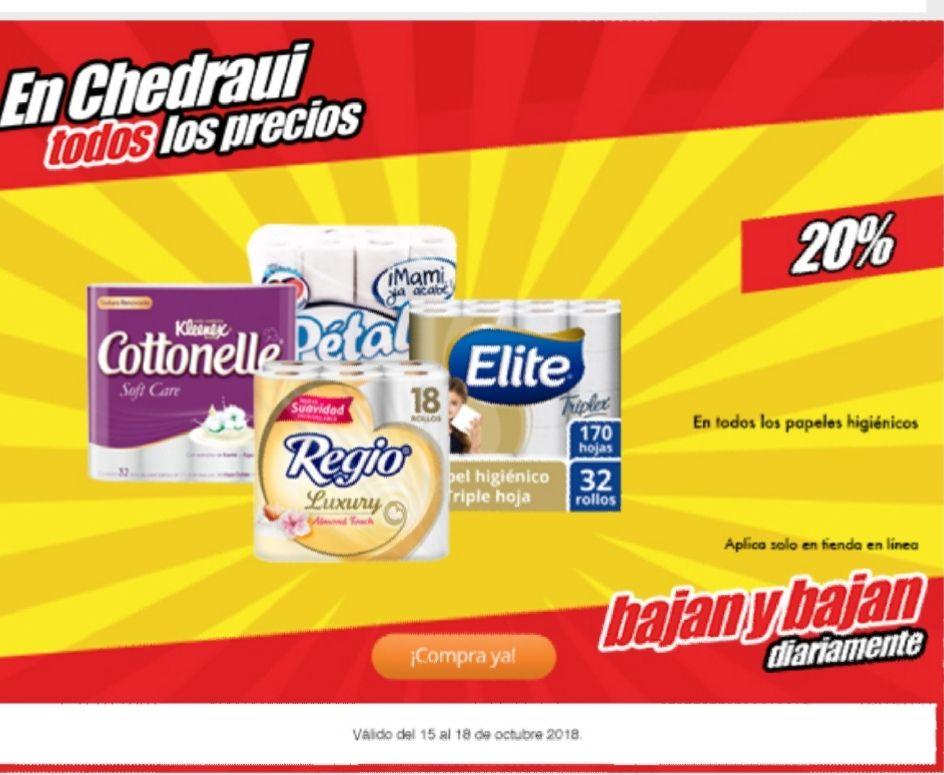 Chedrahui. 20% de descuento en papel higiénico