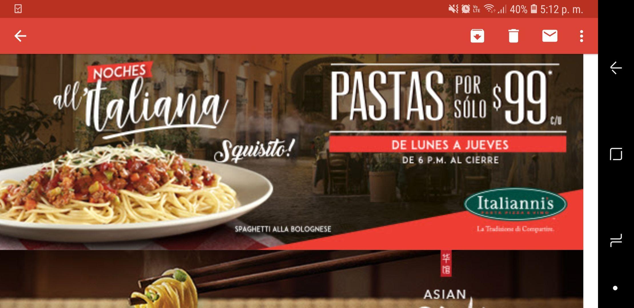 Italiannis: Pastas a 99 pesos