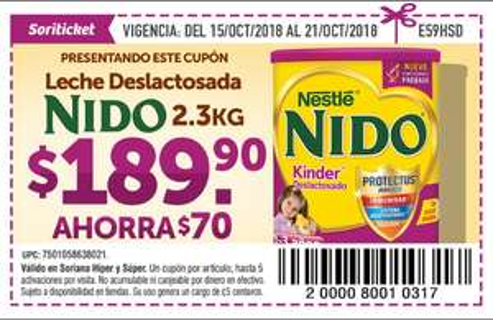 Soriticket: Nido Deslactosada 2.3 Kg. $189.90