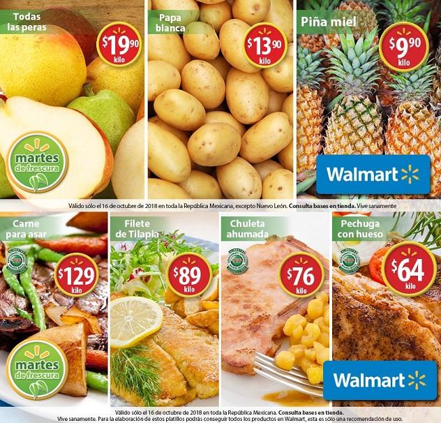 Walmart: Martes de Frescura 16 Octubre: Piña Miel $9.90 kg... Papa Blanca $13.90 kg... Todas las peras $19.90 kg.