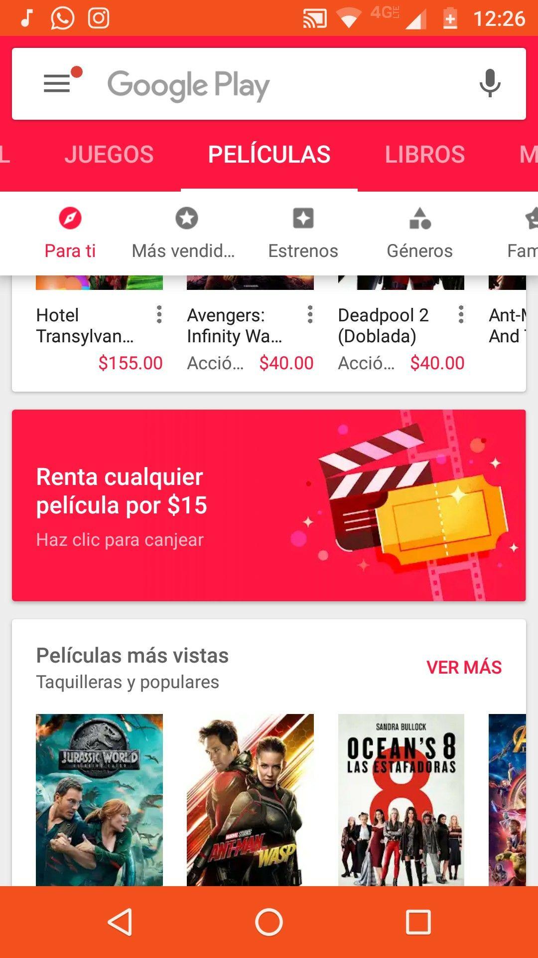 Google Play Movies: Una renta de película $15