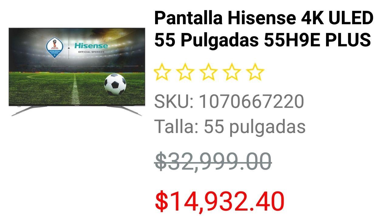 Liverpool: Pantalla Hisense 4K ULED 55 Pulgadas 55H9E PLUS