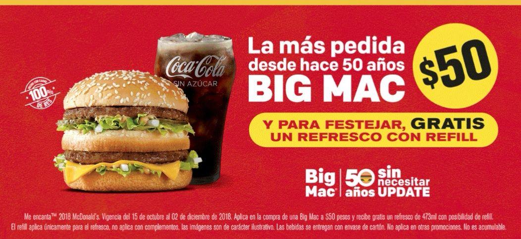 McDonald's: Gratis refresco al comprar Big Mac