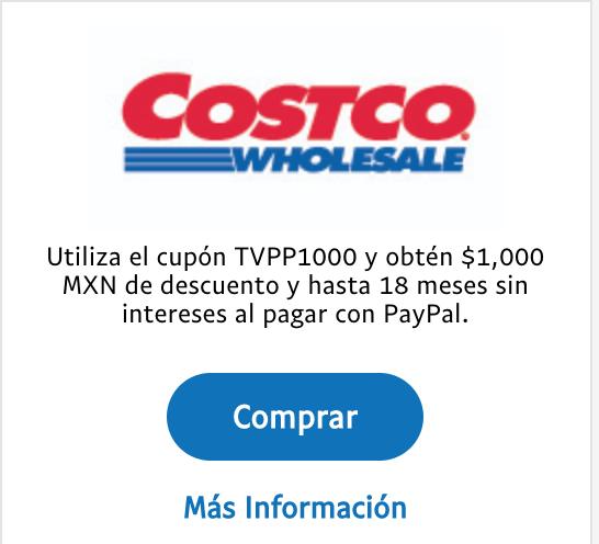 Costco: $1,000 MXN de descuento y hasta 18 MSI al pagar con PayPal.