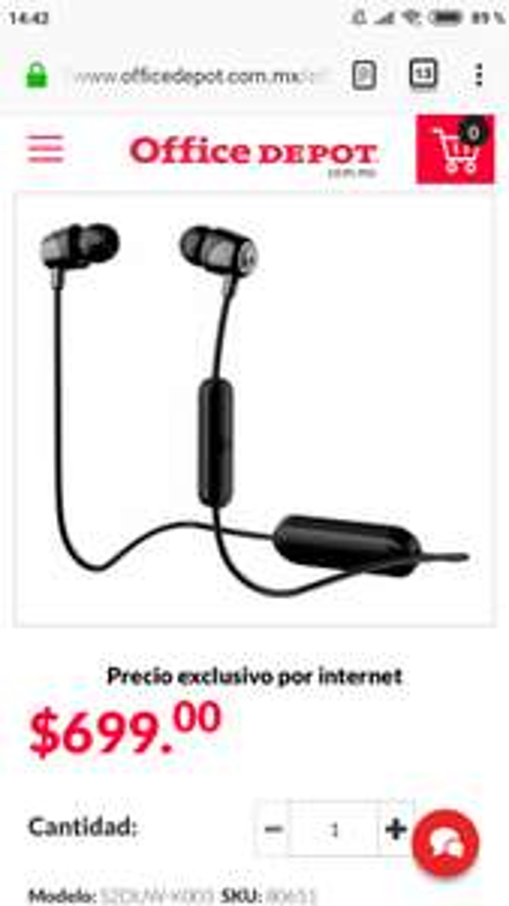Office Depot: Skullcandy Jib Wireless (solo negro)