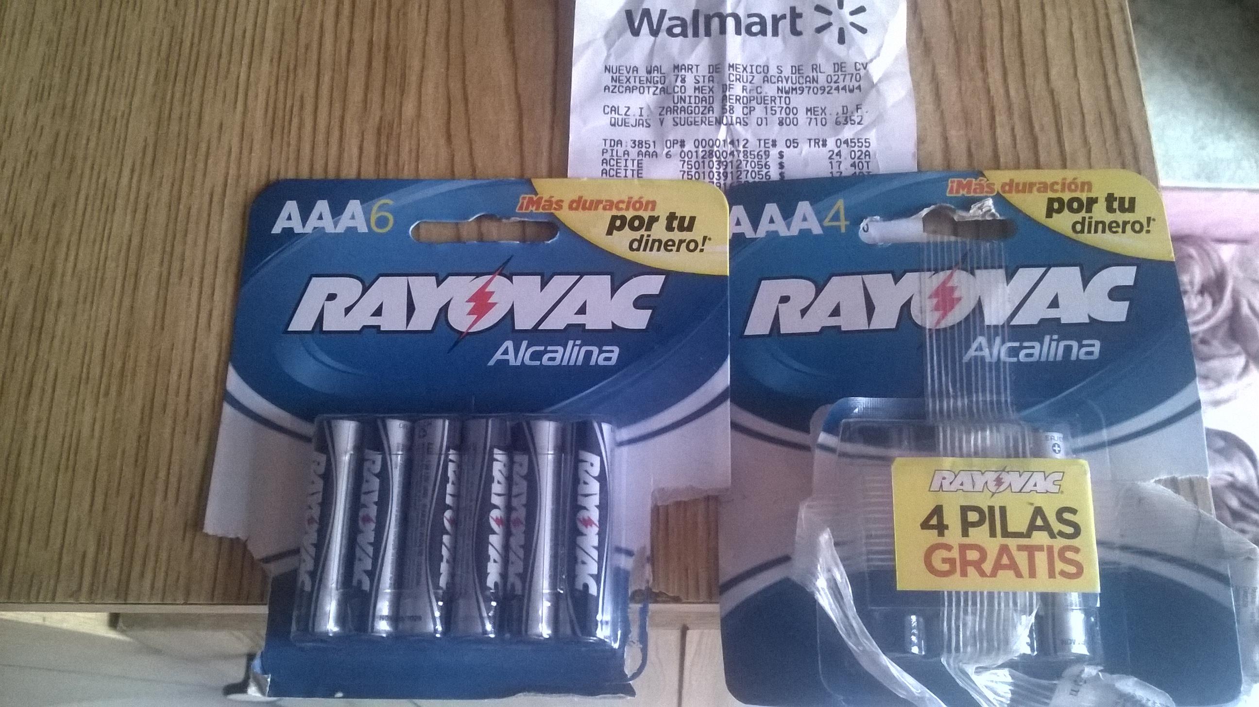 WalMart: 10 pilas AAA Rayovac $24.02