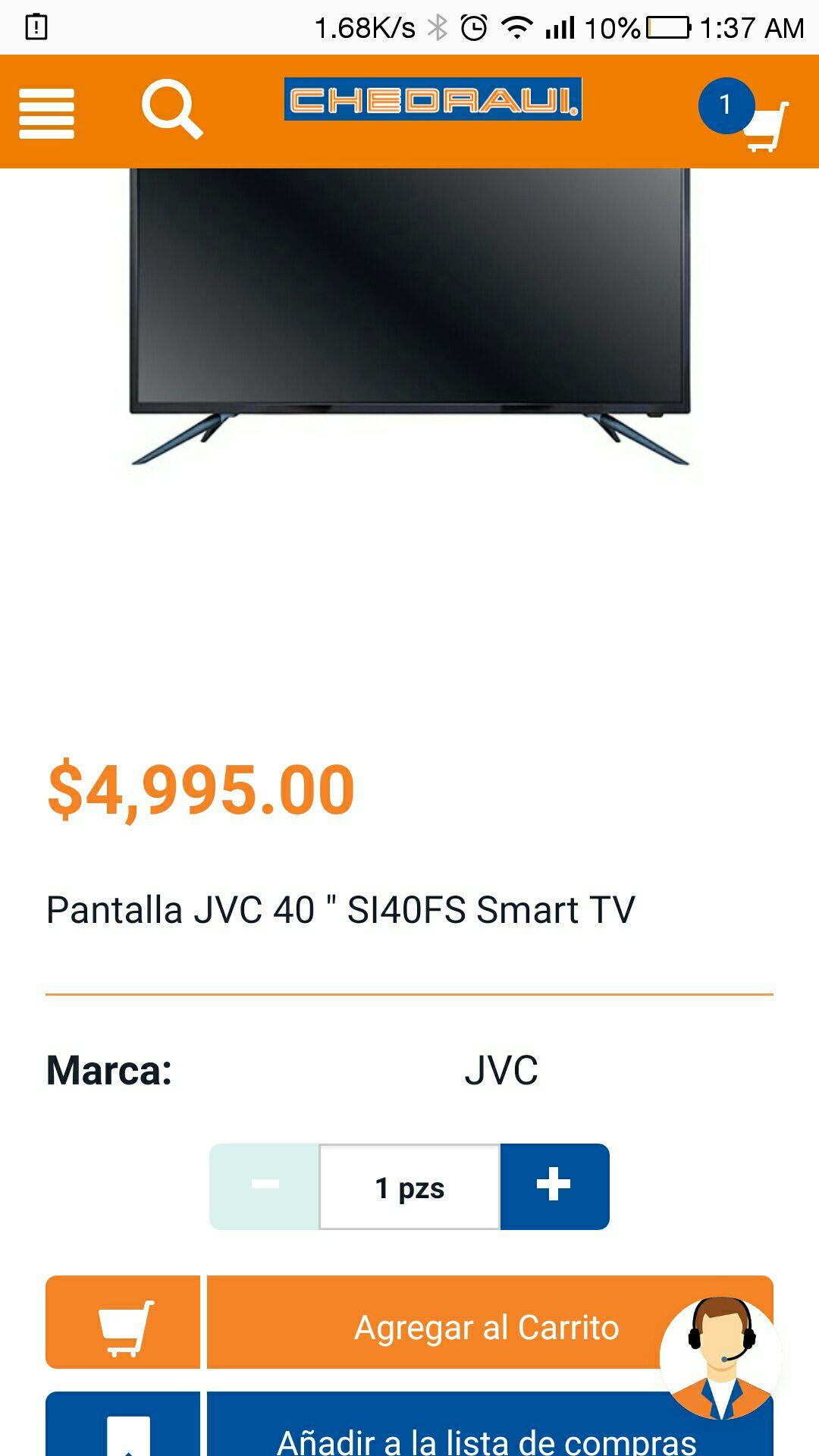 "Chedraui: Pantalla JVC 40"" Smart TV full HD"
