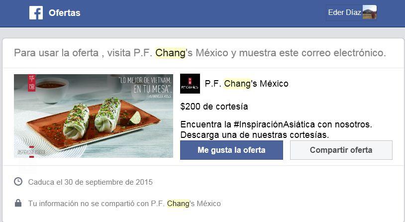 $200 pesos de cortesía en P.F. Chang's