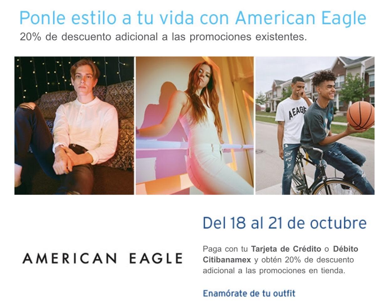 American Eagle: 20% menos con tu Tarjeta de Crédito o Débito Citibanamex