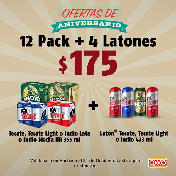 Oxxo: 12pack + 4 latones