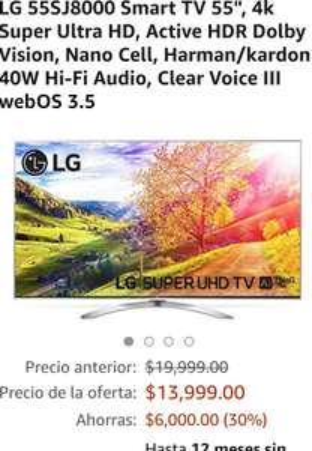 "Amazon: Pantalla LG 55SJ8000 Smart TV 55"""