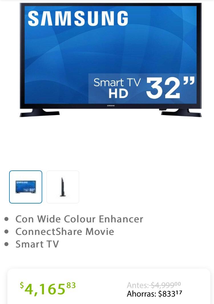 """Sam's Club: Pantalla Samsung de 32"""" Smart tv SÚPER PRECIO A 18 MESES SIN INTERESES Y NO NECESITAS MEMBRESÍA"""