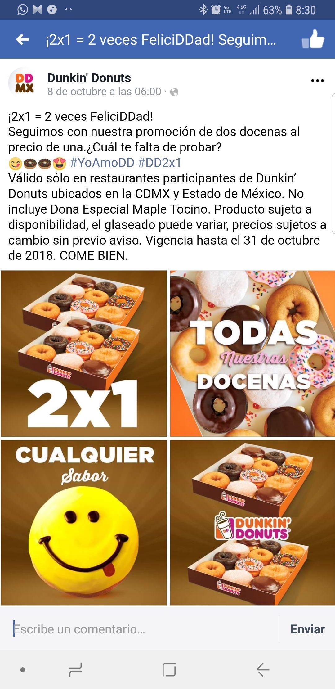Dunkin Donuts: docenas al 2x1 en sucursales participantes CDMX