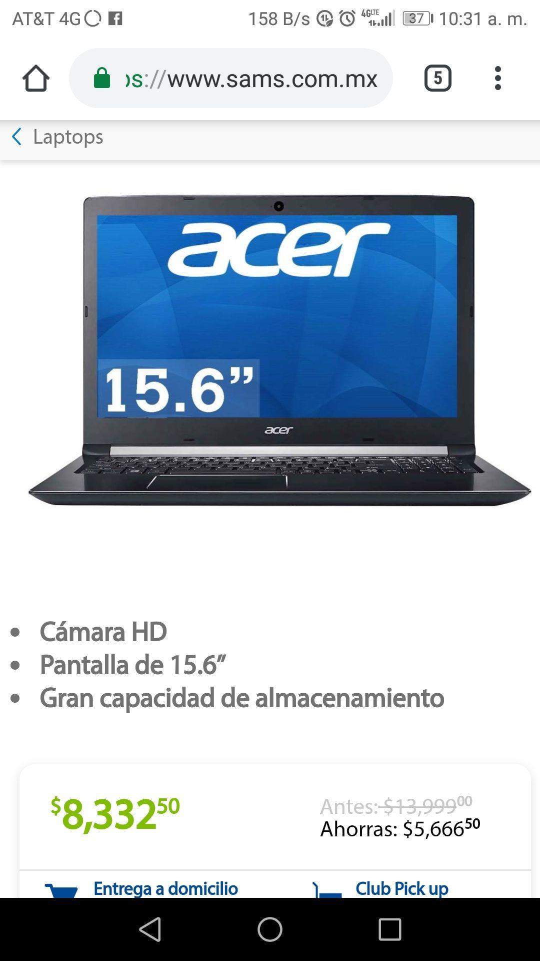 Sam's Club: Notebook Acer Aspire Core i5 8GB RAM 1TB