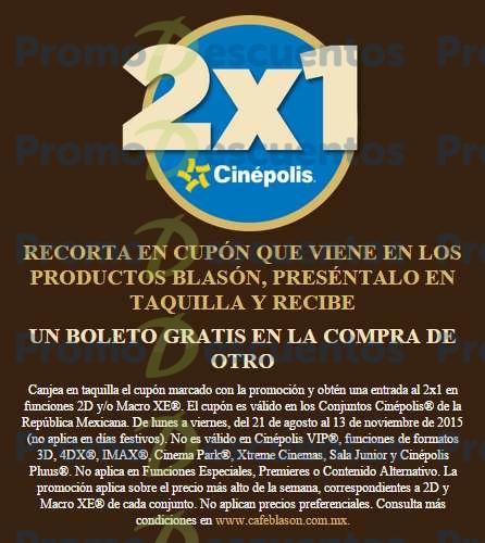 Cinépolis: 2x1 para sala tradicional y Macro XE comprando café Blasón