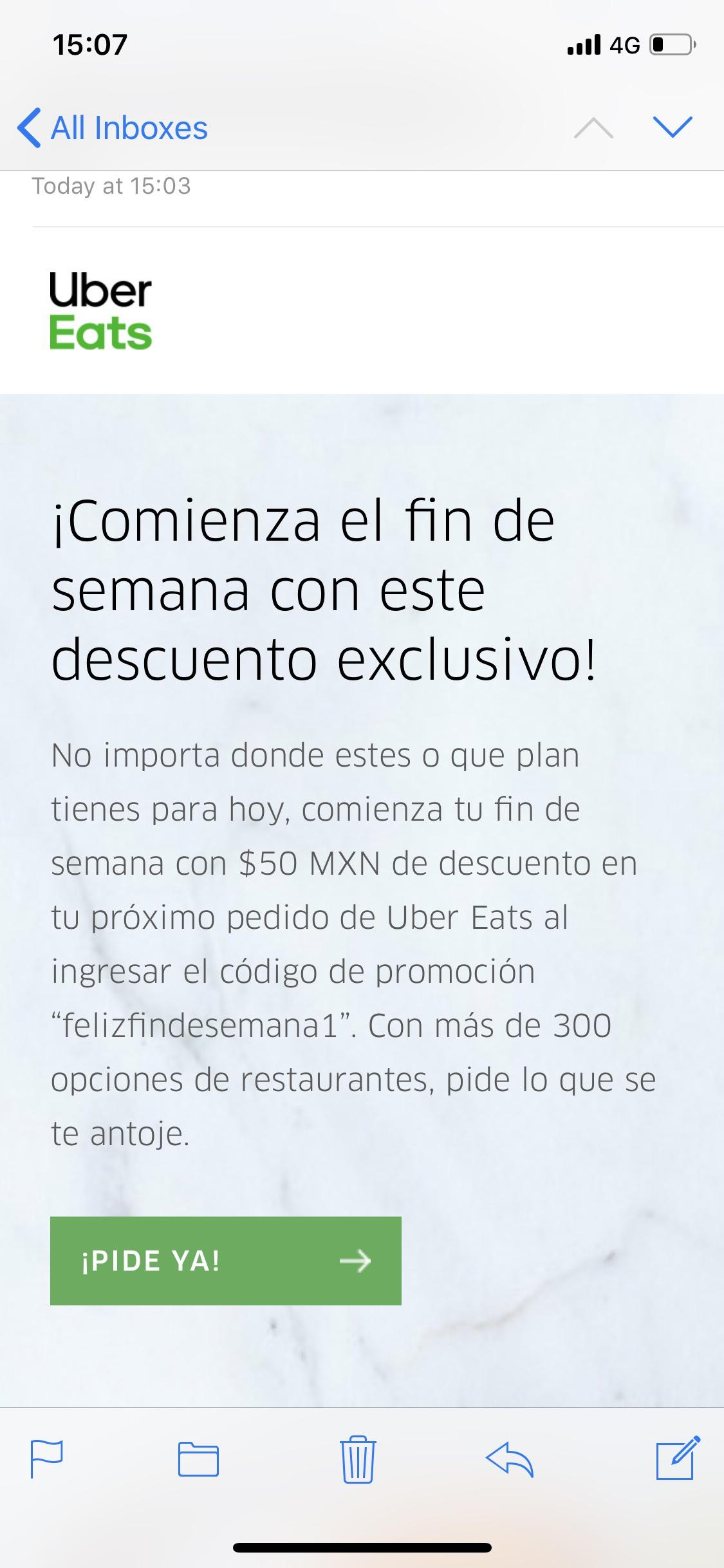 Uber Eats: Descuento 50$