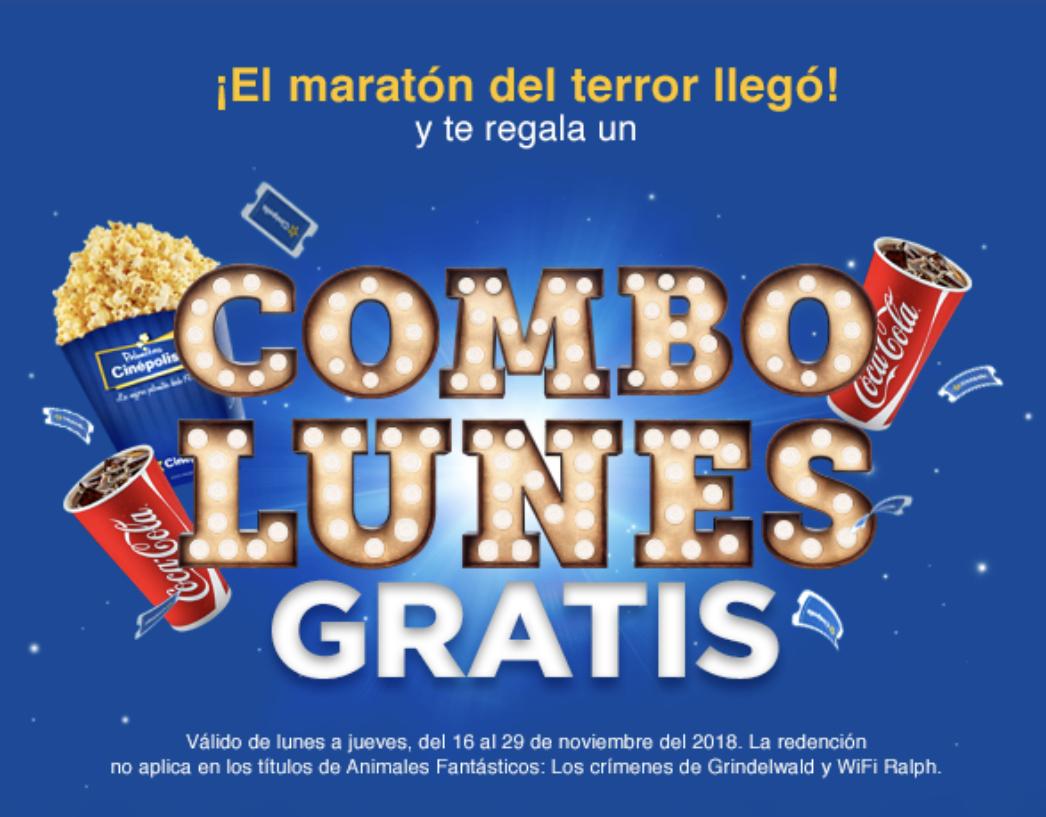 Cinépolis: Combo Lunes GRATIS (2 boletos, palomitas grandes y 2 refrescos jumbo) al ver 3 películas de terror