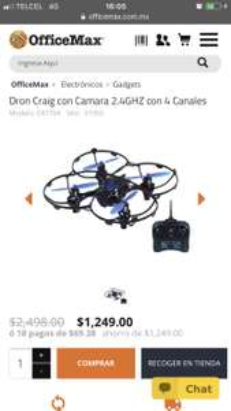 Office Max: Dron craig con cámara 50% de descuento