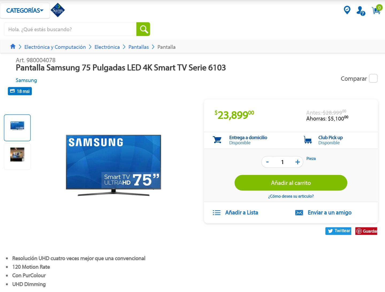 """Sam's Club:  Pantalla Samsung 75"""" LED 4K SMART"""