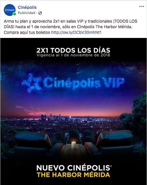 Cinepolis Harbor Mérida: 2x1 Salas VIP y Tradicionales