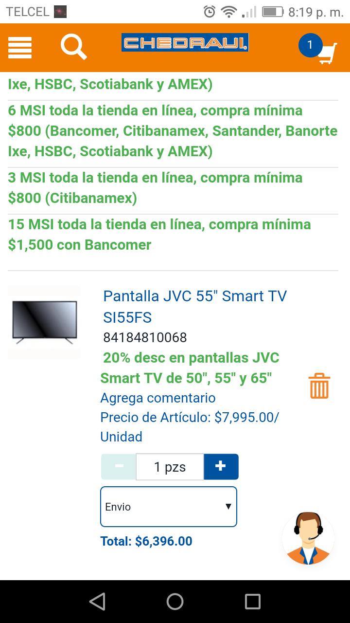 Chedraui: Pantalla de 55 pulgaditas JVC y se puede enviar a 18 meses con Bancomer