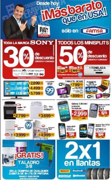 Ofertas del Buen Fin 2013 en Famsa: 2x1 en llantas, 30% en Sony y más