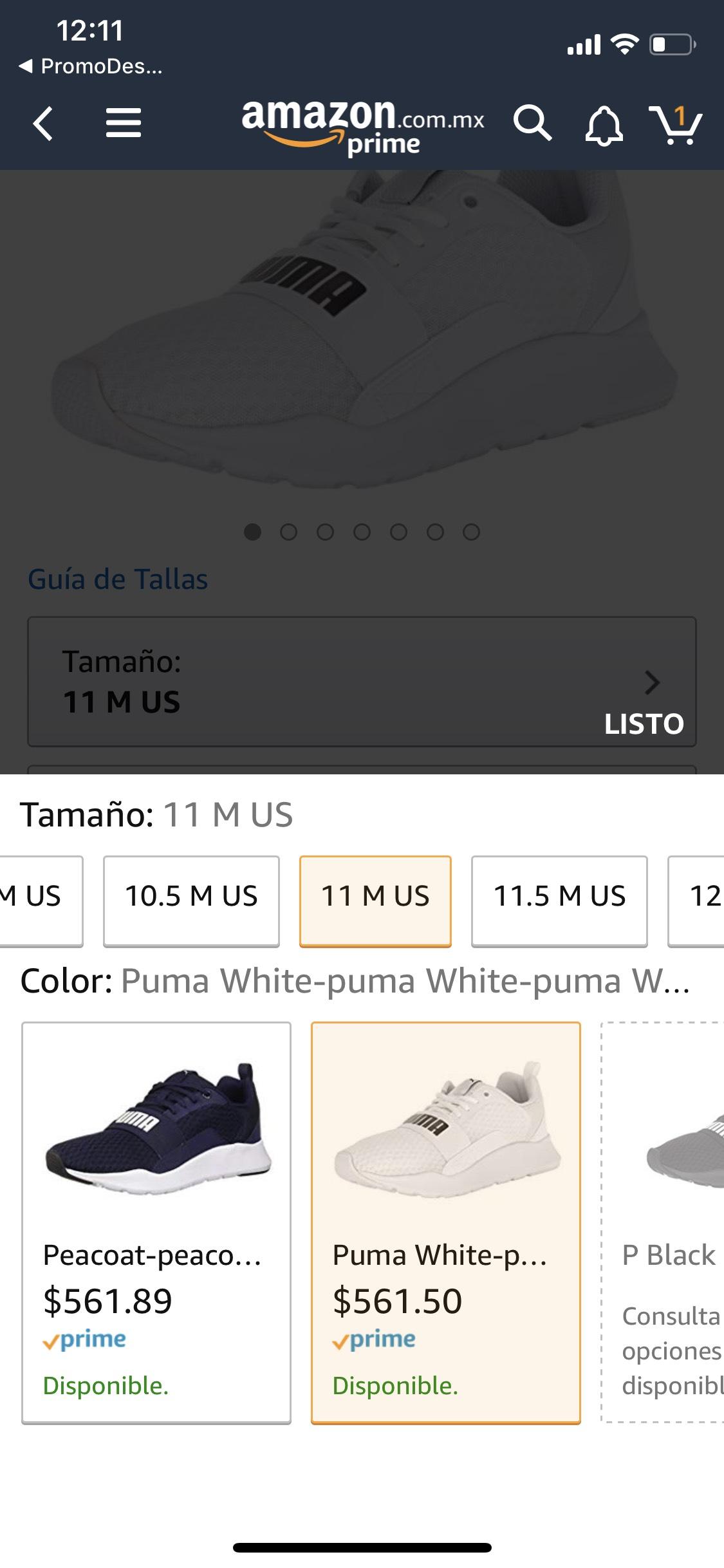 Amazon: Tenis Puma Blanco y Azul en talla 9mx